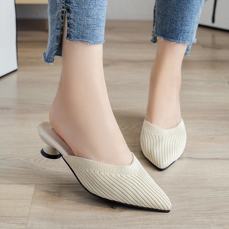 Pointed Mid Heels Slippers Women Summer Shoes Sexy Sandals Knitted Elastic Mesh Slingback Breathable Mules Shallow Slides Shoes 1