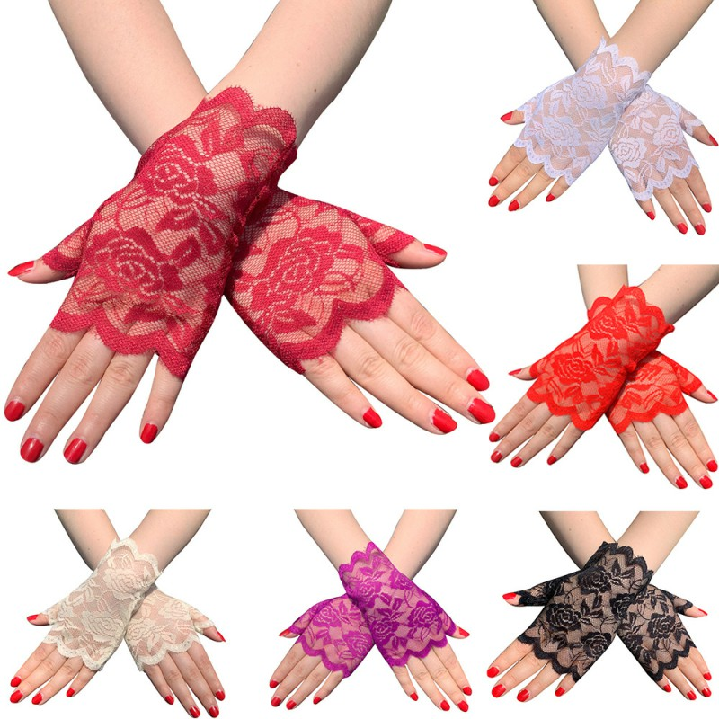 Short Women's Lace Gloves Floral Gloves Fingerless Gloves Sun Protection Gloves For Wedding Party Guantes Fiesta Mujer ST254