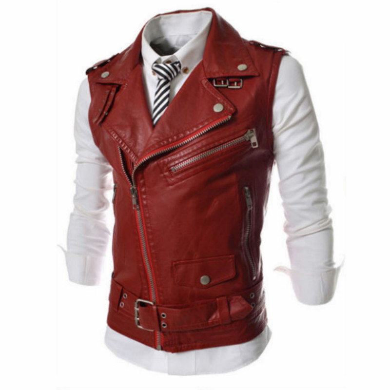 2020 New Motorcycle Leather Jacket Vest Men Fashion Multi-Zippers Leather Jackets Sleeveless Vest Male Casual PU Coats