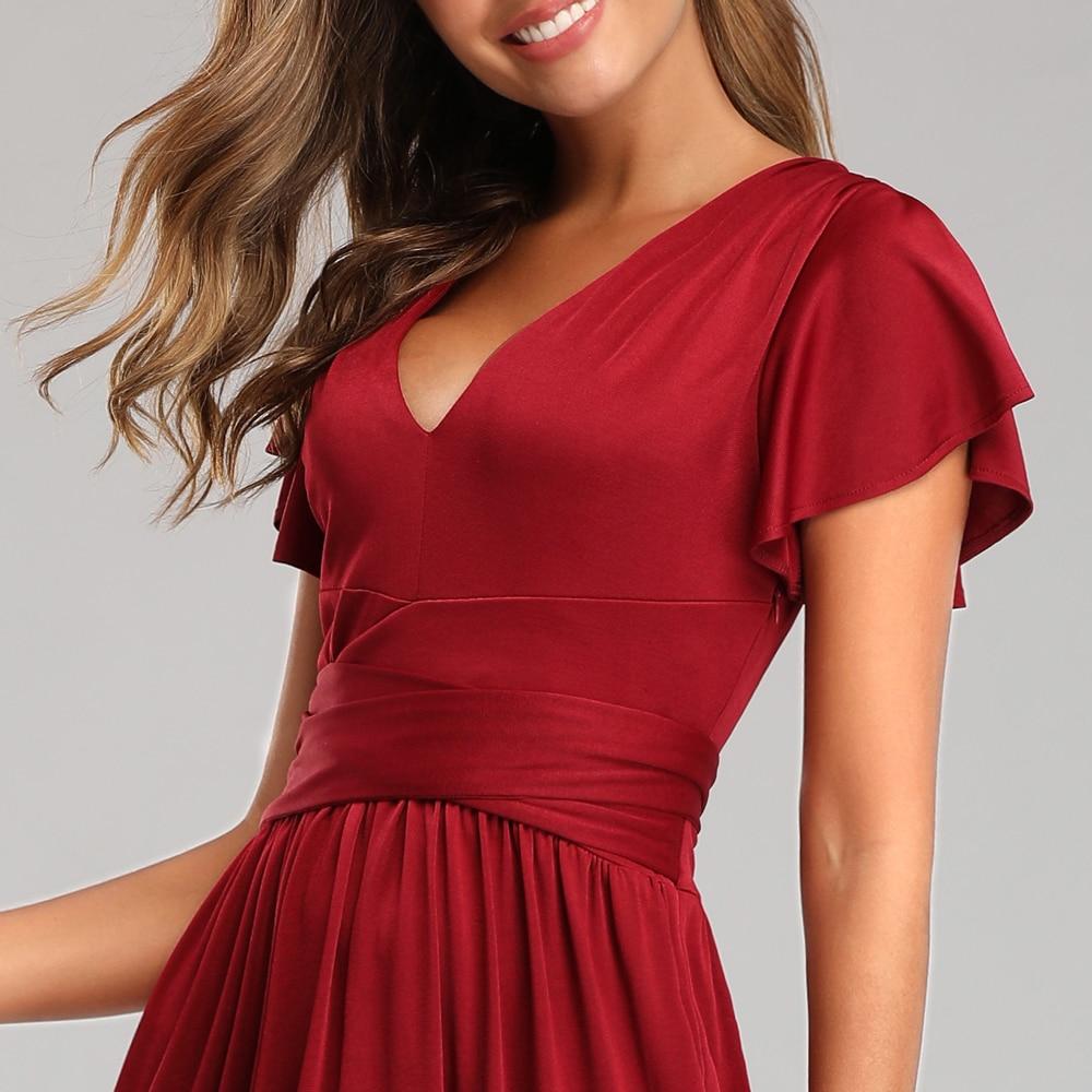 Купить с кэшбэком elegant sexy plunge neckline evening dress flutter sleeves deep front slit Prom dress waist-defining bow completes long dress