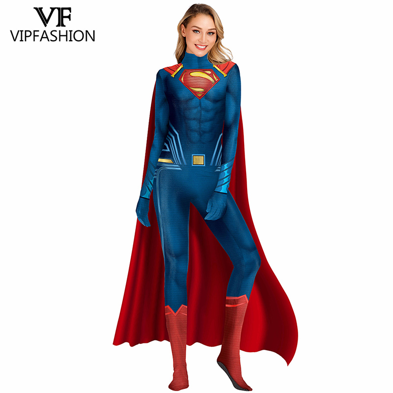 VIP FASHION New Cosplay Costumes Women Deluxe Muscle Cosplay Bodysuit Super Hero Superman 3D Comics Printed Jumpsuit