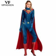 VIP FASHION New Cosplay Costumes Women Deluxe Muscle Cosplay Bodysuit Super Hero Superman 3D Comics Printed Jumpsuit цена в Москве и Питере