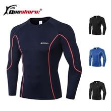 QUESHARK running shirt men long sleeve camiseta homme gym dryfit tshirt termica camisa masculina manga longa ropa deportiva