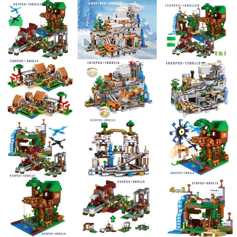 Строительные блоки для мой мир Minecrafted горной пещера Лифт шахты деревня водопад Модель Набор с фигуры кирпичные игрушки
