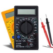 Mini multímetro digital lcd, multímetro digital ac/dc 750/1000v digital de mão para voltímetro e amperímetro testador ohm com sonda