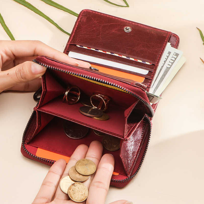 Kleine Frauen Brieftasche Weibliche Geldbörse Aus Echtem Leder Brieftaschen Red Rfid Geldbörse Mini Karte Halter Geld Tasche Kupplung Carteira Feminina