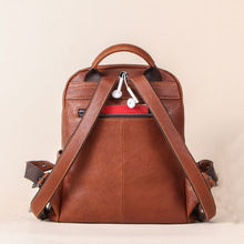 Backpack stylish lady leather backpack can hold 7.9in iPad backpack zipper soft handle brown