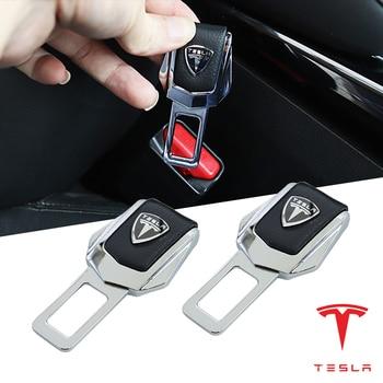2pc car seat belt car accessories interior for Tesla model 3 model s model x tesla coil style seat belt cover fastener цена 2017