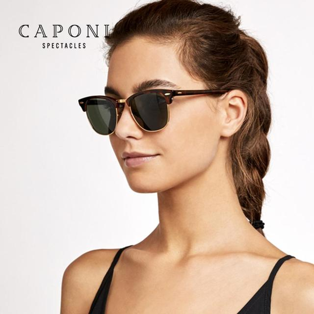 CAPONI Polarized Sunglasses Men Women Popular Brand Classic Design Sun Glasses Coating Lens Shade Fashion Girls Eyewear CP3101