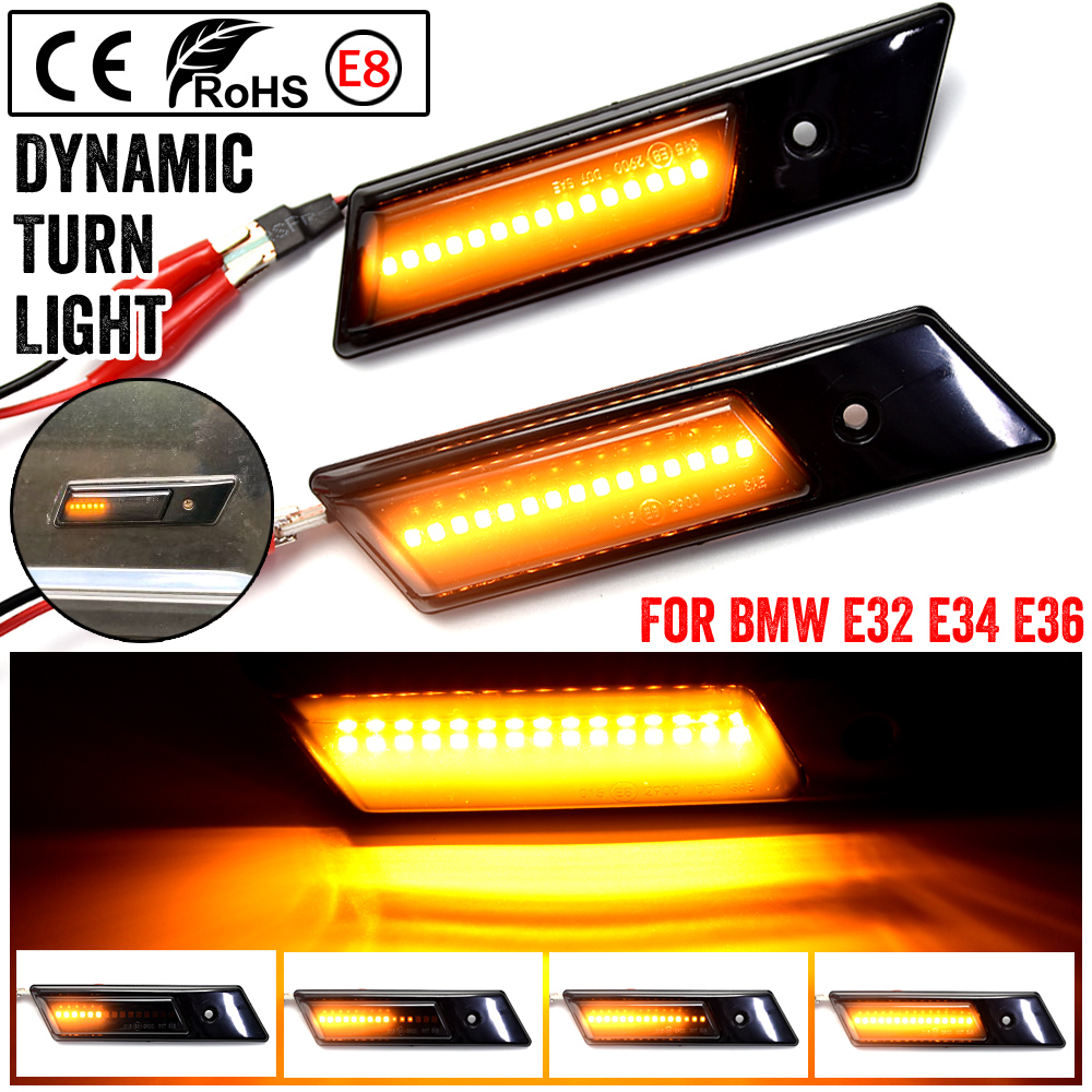 For BMW E32 E34 <font><b>E36</b></font> 1990-1996 M3 3 5 7 Series <font><b>Led</b></font> Dynamic Turn Signal Light Side Marker Fender Sequential Lamp Indicator Blinker image