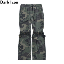 Dark Icon Knee with Band Camouflage Flare Pants Men Elastic Waist Camo Men's Pants 2 Colors