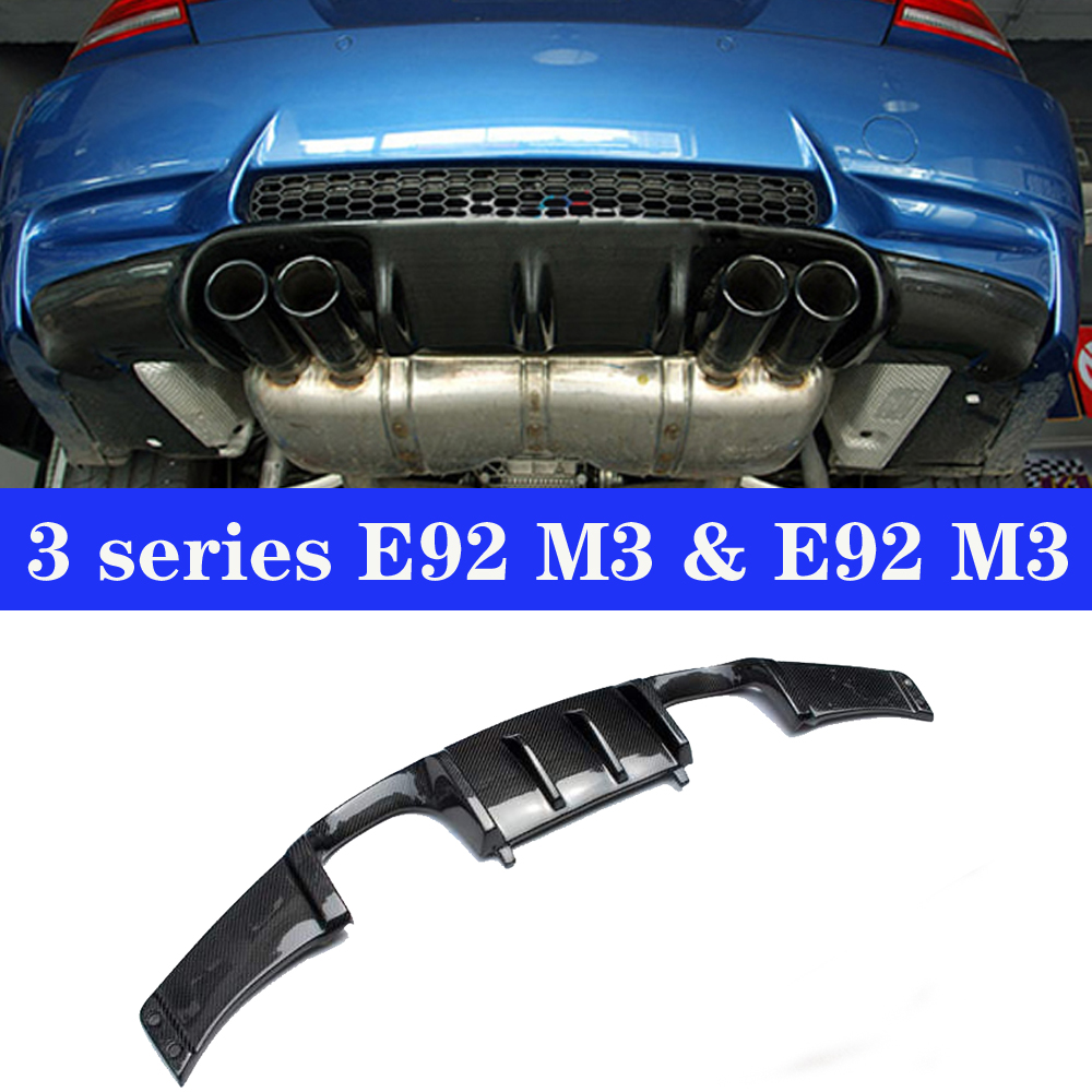 Car Rear <font><b>Bumper</b></font> Lip Spoiler Diffuser for BMW <font><b>E92</b></font> E93 M3 2-door 2006 - 2013 Real Carbon Materials Car <font><b>Bumper</b></font> image