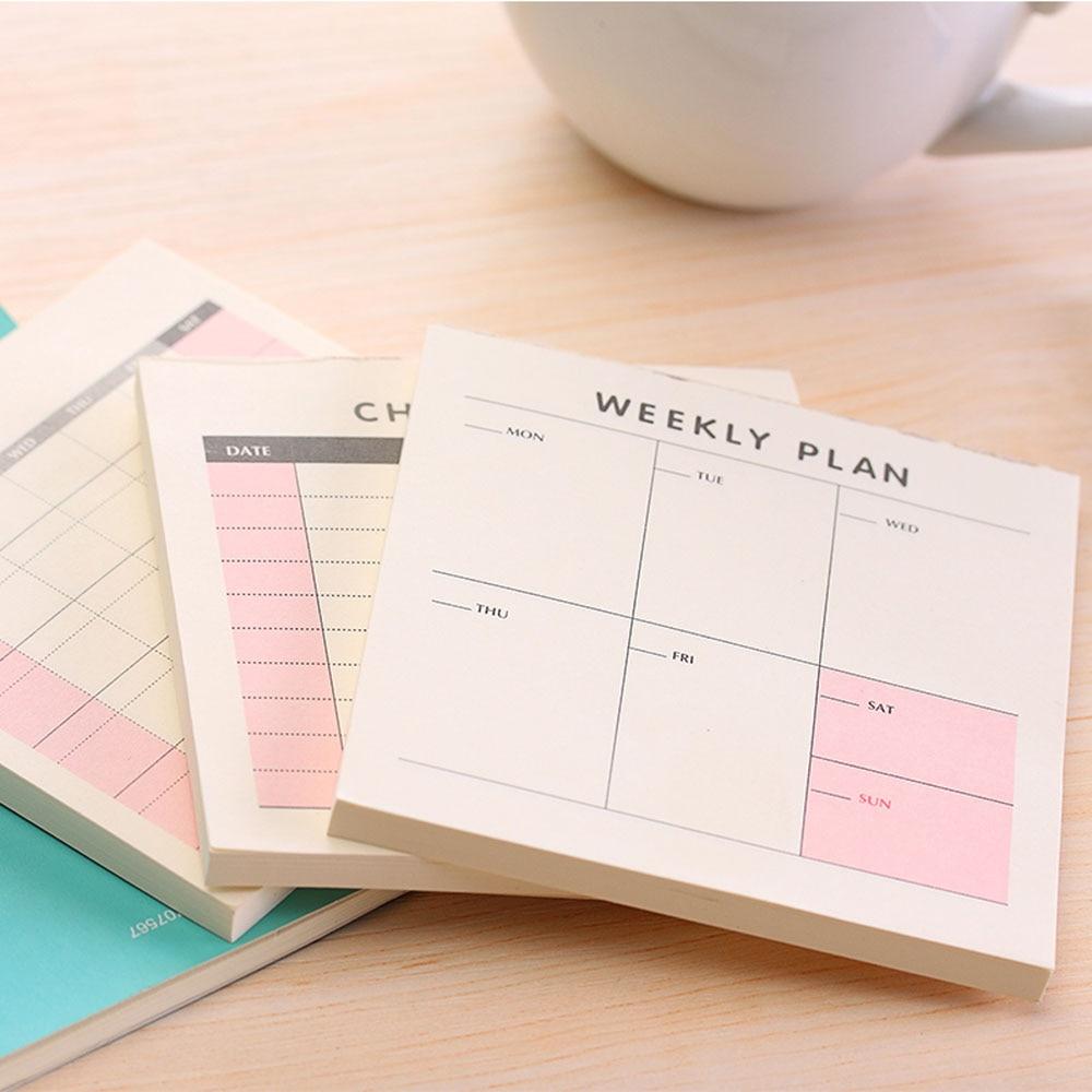 60 листов, еженедельный ежемесячный планер, блокнот, маленькая книга, Kawaii, канцелярские принадлежности, клейкая бумага для заметок, Канцтова...