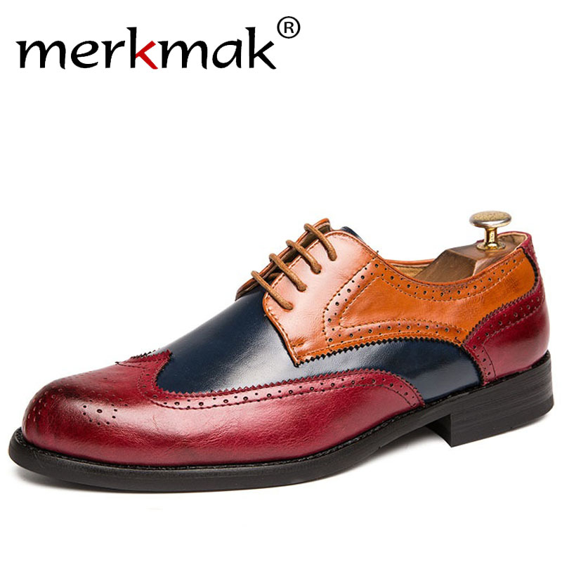 Merkmak Oxford Shoes Fashion Hollw Brogue Men Leather Formal Dress Shoes Man Comfortable Big Size 38-47 Office Party Footwear