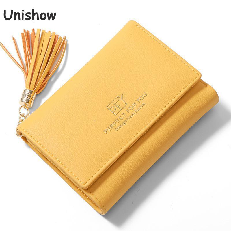 Unishow Tassel Small Wallet Women Multifunction Female Purse Brand Designer Female Wallet Trifold Ladies Purse Coin Card Holders