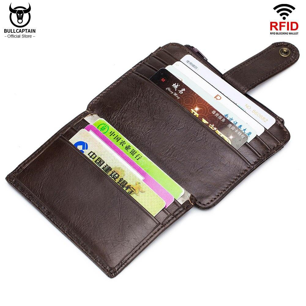 BULLCAPTAIN, натуральная кожа, RFID Блокировка, молния, держатель для карт, кредитная карточка, кошелек, мини тонкий кошелек, визитница и удостовере...