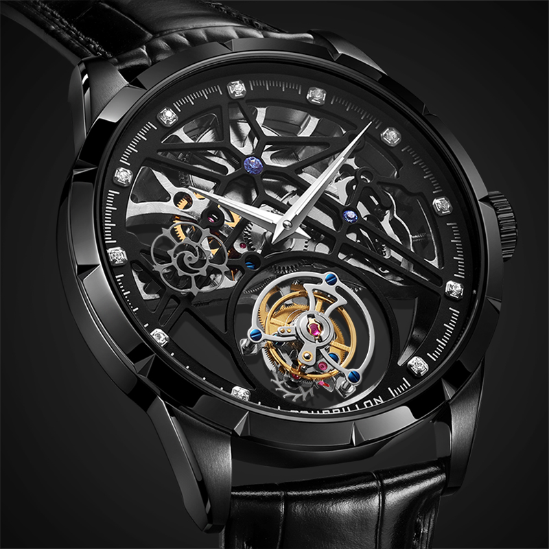 New Model GUANQIN 100% Original Tourbillon men watch top brand luxury double Skeleton Sapphire Relogio Masculino 10