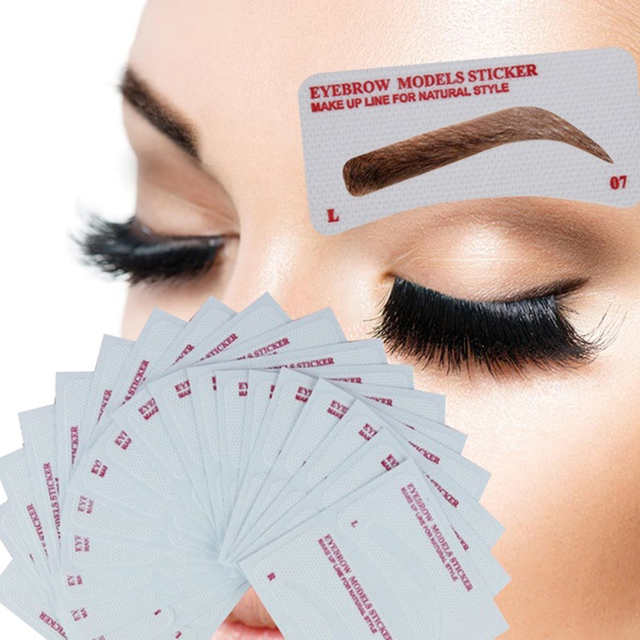 12 Pairs Card Eyebrow Stencil Grooming Shaper Template Makeup Shaping Tools Stickers Eyebrow Template Card DIY Accessories