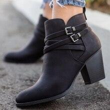 Adputent/Винтажные ботинки; женская кожаная обувь с пряжкой; женские полусапожки на квадратном каблуке; Модные дышащие ботильоны с острым носком; Прямая поставка
