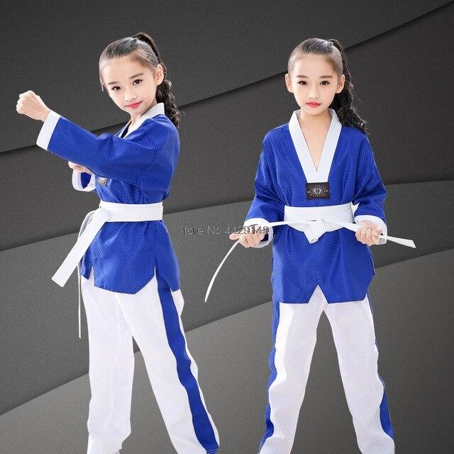 Profissional azul taekwondo uniformes crianças adulto unisex