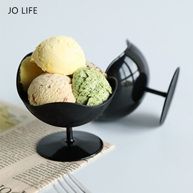 JO LIFE 5pcs/set Ice Cream Cup Creative Disposable Chair Shaped  Stemmed Sundae Cup Mousse Container Dessert Bowl