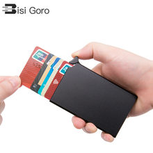 BISI GORO RFID Anti-theft Credit Card Holder Thin ID Card Case Unisex Automatically Solid Metal Bank Card Wallet Business Mini(China)