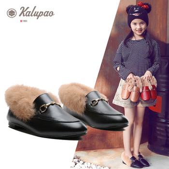 Kalupao Kids Footwear children kids shoes for girls shoes loafers flip with fur autumn 2019 winter baby toddler girl shoe  26-35