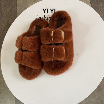 European Station Selling Ladies Slippers Luxury Fashion Fur Mink Slippers Ladies Soft And Comfortable Flat Shoes Home Shoes european station fashion new ladies fur slippers 100