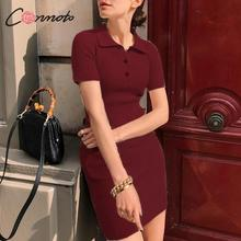 Conmoto Sweater Dress Winter 2019 Knitted Dress Slim Solid Polo Collar Mini Dress Bodycon Sexy Dress Vestidos