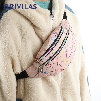 Brivilas Women Waist Bag Holographic Fanny Pack Shoulder Luxury Waterproof Sport Belt Bag Multifunction Laser Chest Bag Bum Girl