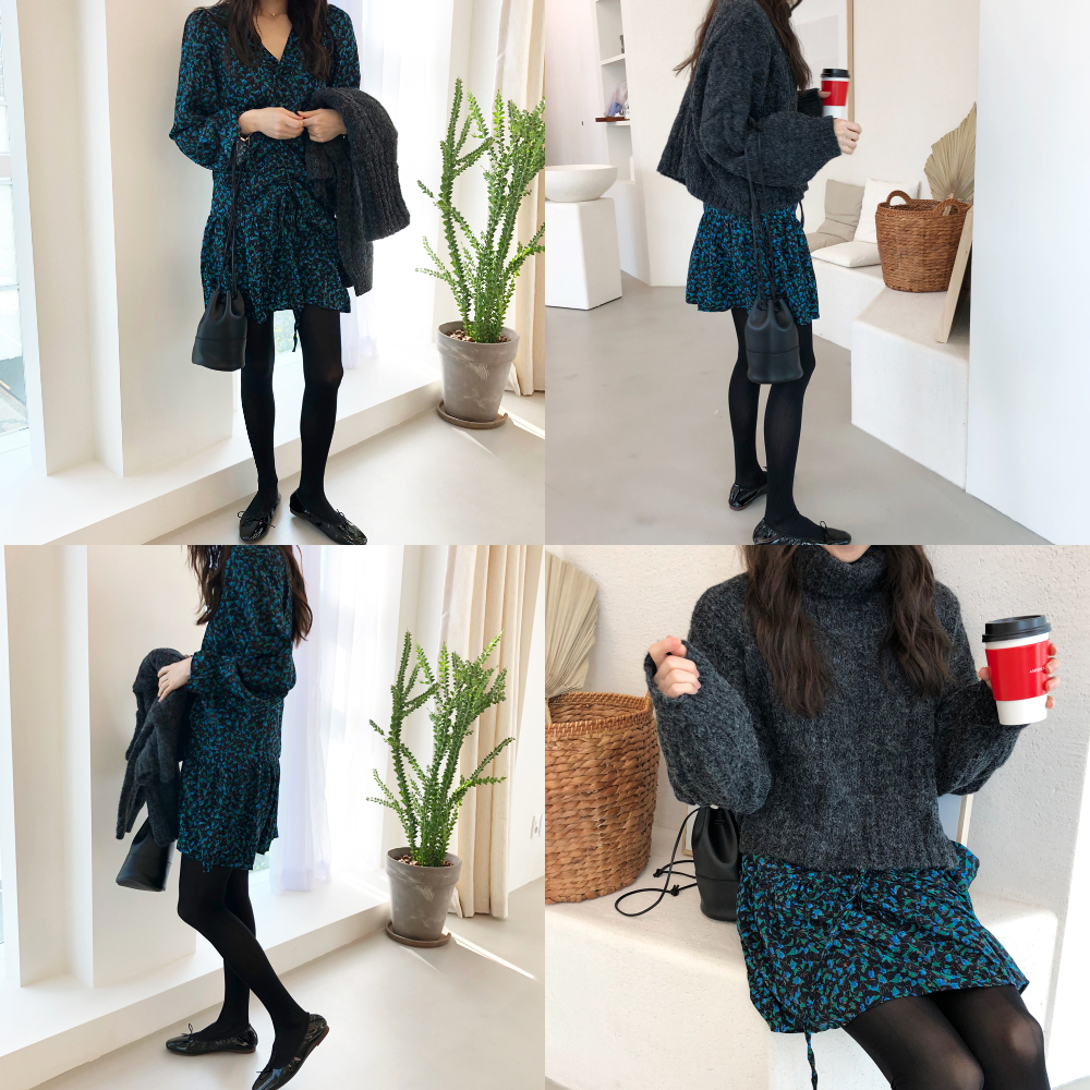 H643c255a2ef64c0da0685f2cbc1b797d1 - Autumn V-Neck Flare Sleeves Drawstrings Floral Print Mini Dress
