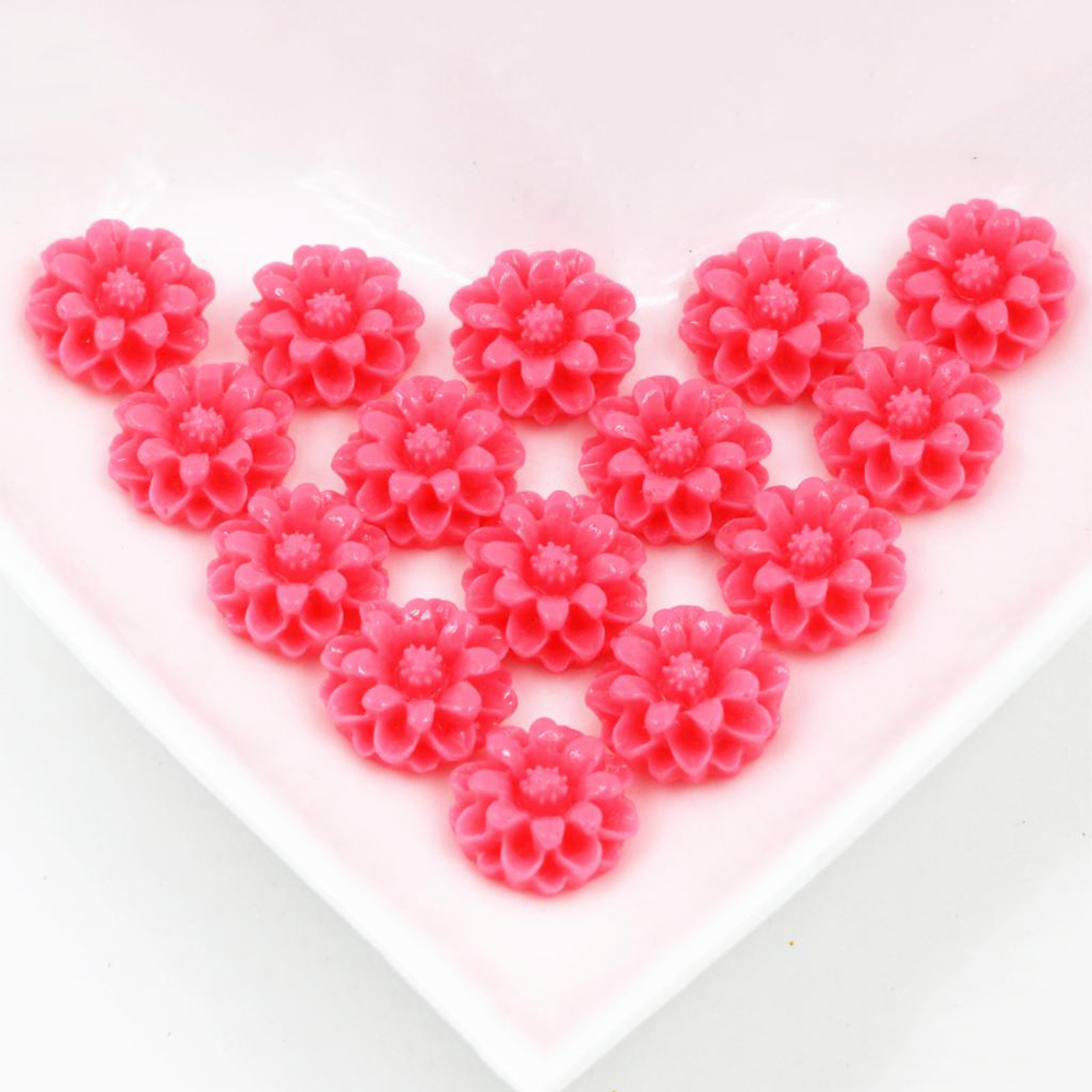 New Fashion 40pcs 12mm Pink Color Flat Back Resin Flower Cabochons Cameo G6-02