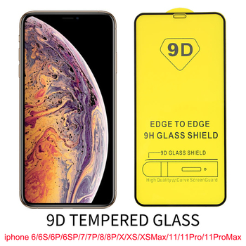 100Pcs 9D Curved Tempered Glass For iphone 11 Pro Max Screen Protector X XR XS Max 6S 7G 8 Plus Tempered Glass Film Movie