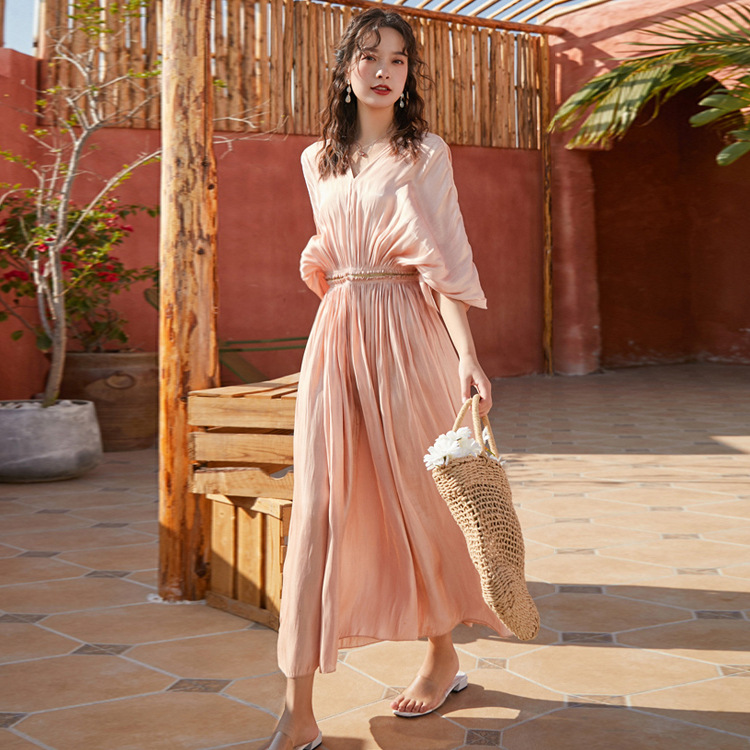 Champagne Satin Pleated <font><b>Dress</b></font> Woman <font><b>Sexy</b></font> V-Neck Loose Long maxi <font><b>boho</b></font> <font><b>Dress</b></font> 2020 lady quality <font><b>elegant</b></font> Summer holiday <font><b>Beach</b></font> <font><b>dress</b></font> image