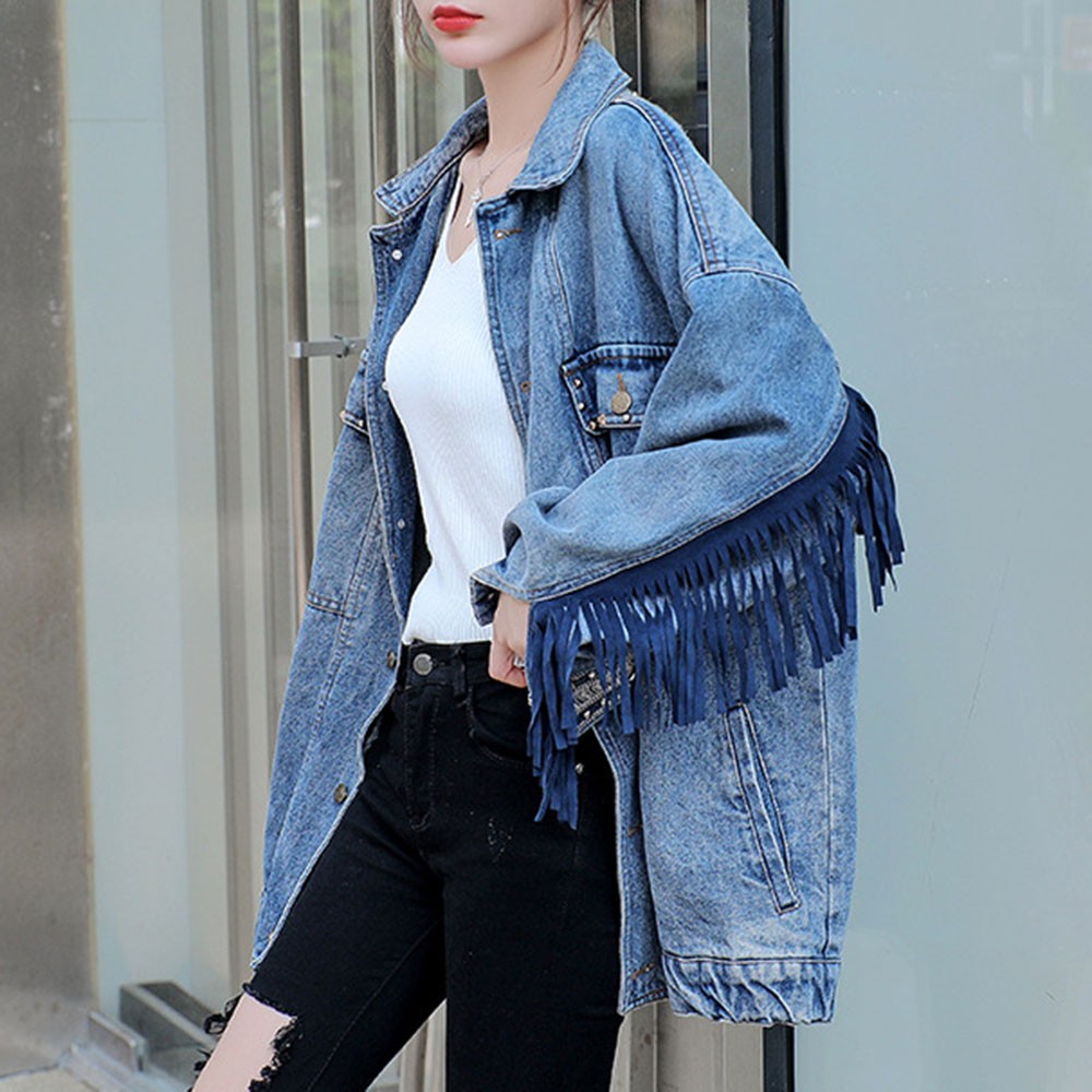 Boho Denim Jacket Female Autumn 2019 Popular New Loose Korean Boyfriend Oversize Outwear Embroidery Rivet Tassel Jackets Coats