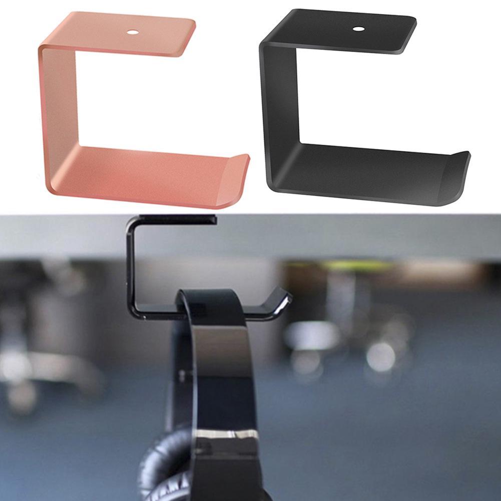 1Pc Aluminium Headphone Holder Under Desk Stand Hanger Wall Mounted Earphone Headset Storage Rack Easy To Install