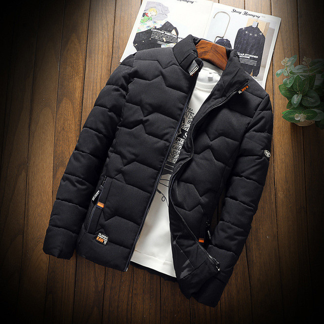 Autumn Winter Jacket Men Thicken Warm Cotton-padded Mens Jackets Slim Fit Stand Collar Youth Winter Jackets and Coats For Men 2