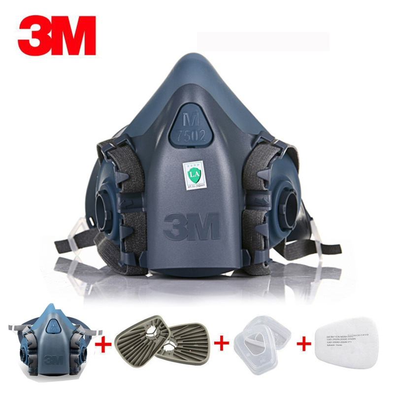 US 7 In 1 Suit Half Face 3M 7502 Half Face Piece Gas Mask Spray Painting Protection Respirator