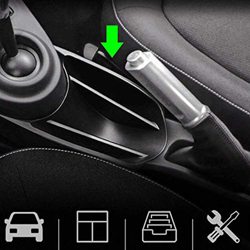 Domilay Car Center Console Handrail Armrest Storage Box ABS Black for Smart 453 Fortwo Forfour 2015-2019 Accessories
