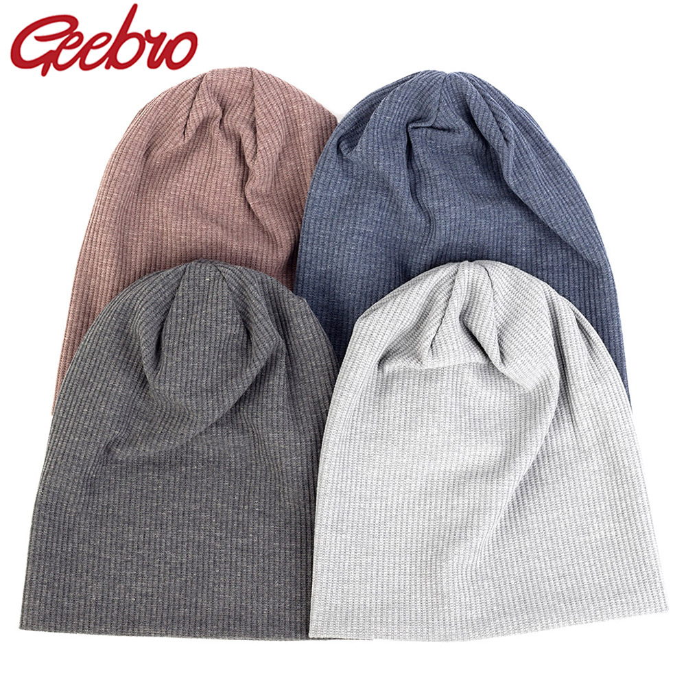 Geebro Warm Soft Cotton Unisex Beanie Fashion Boys Hip Hop Hat For Winter Autumn Knitted Ribbed Female Gentlemen Skull Cap