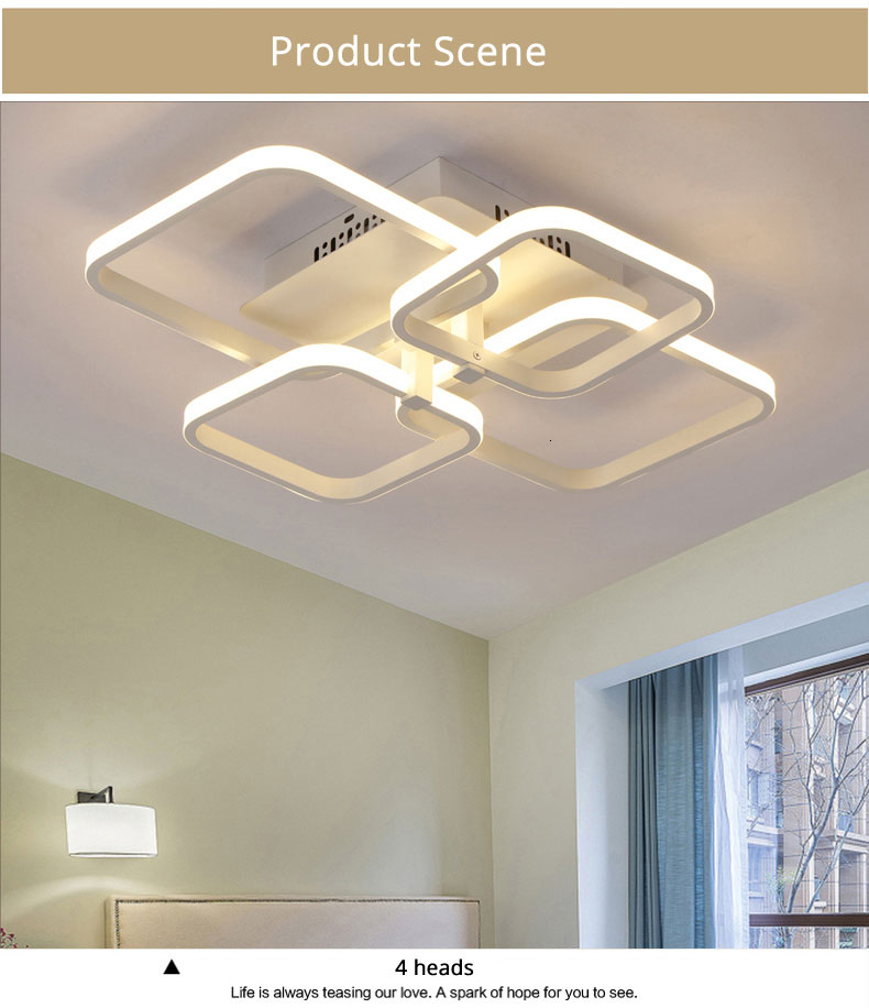 H643d0236db514c6c86b37c584c542972f Square Circel Rings Ceiling Lights For Living Room Bedroom Home Modern Led Ceiling Lamp Fixtures lustre plafonnier dropshipping