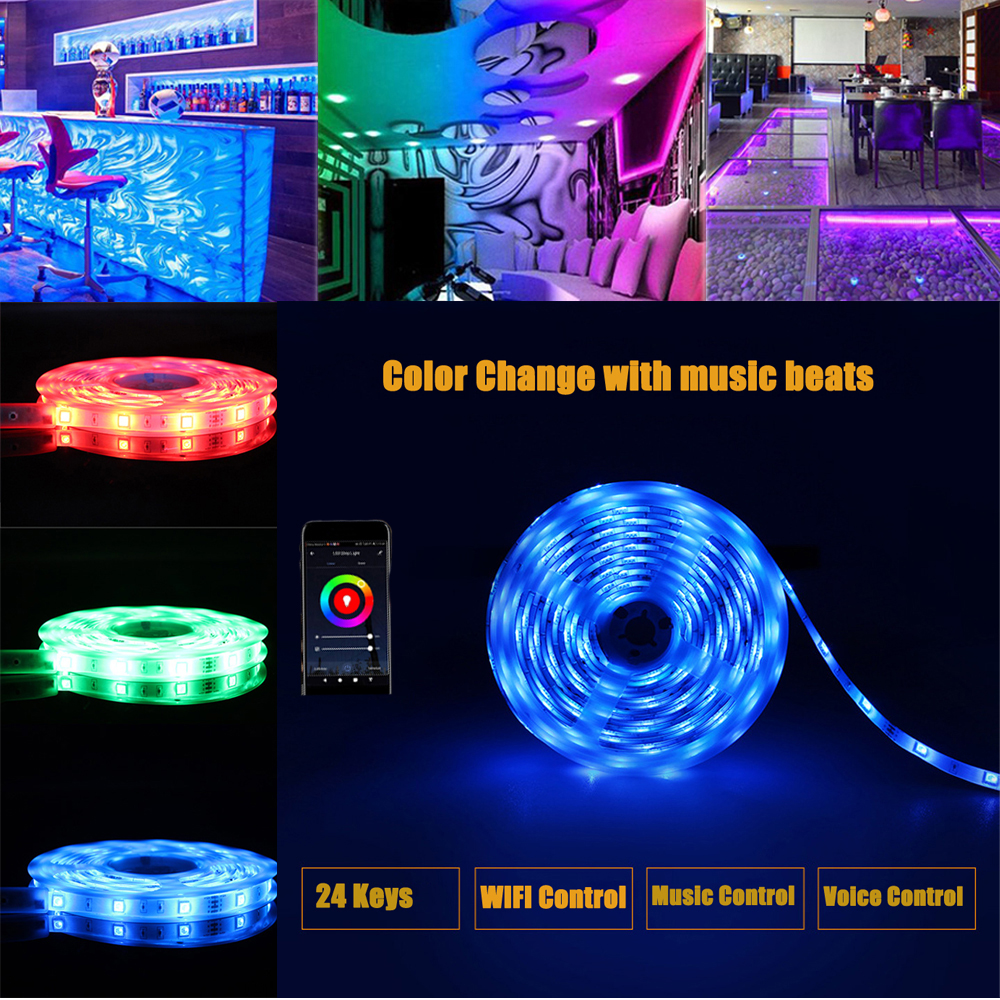 DIY Color Smart WIFI Music LED Strip Light 5050 RGB LED Google Home Alexa Phone App Control For Home TV Party Decor High Quality