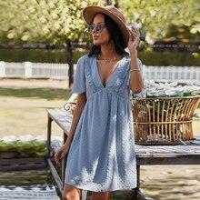 Boho vestido feminino 2021 verão casual com decote em v uma linha cordão mini vestidos de festa para as mulheres elegante férias vestidos de praia roupas