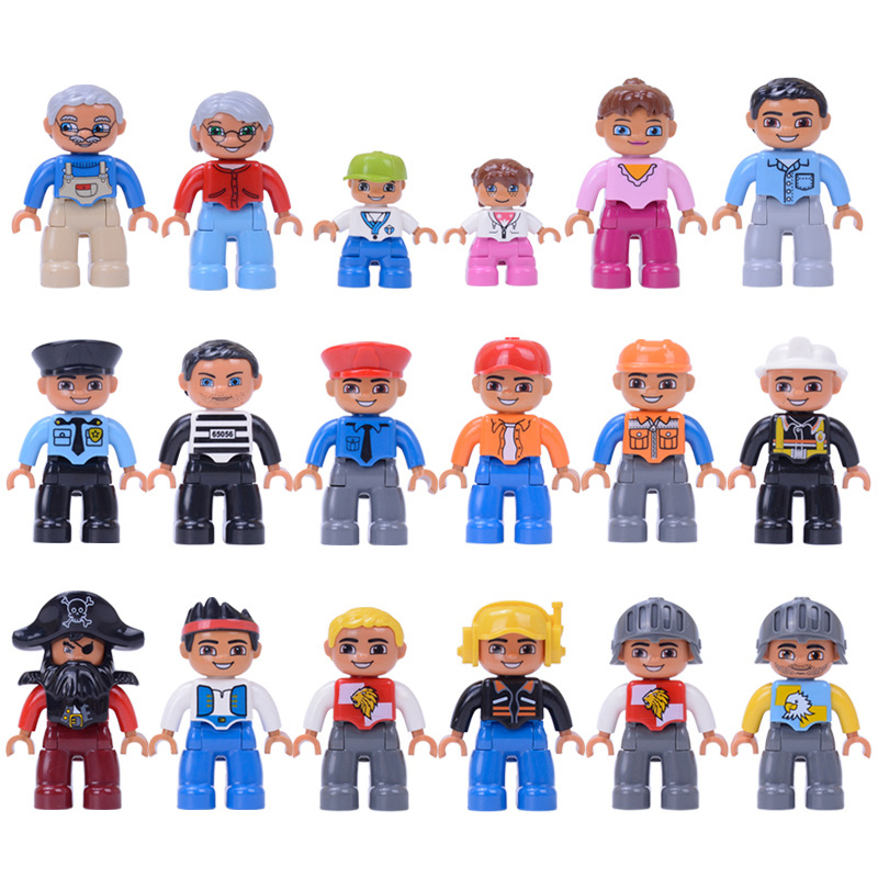 6pcs/Set Large Particle Duploed Figures Family Series DIY Building Blocks Grand Father Dad Character Toys For Children Baby Gift