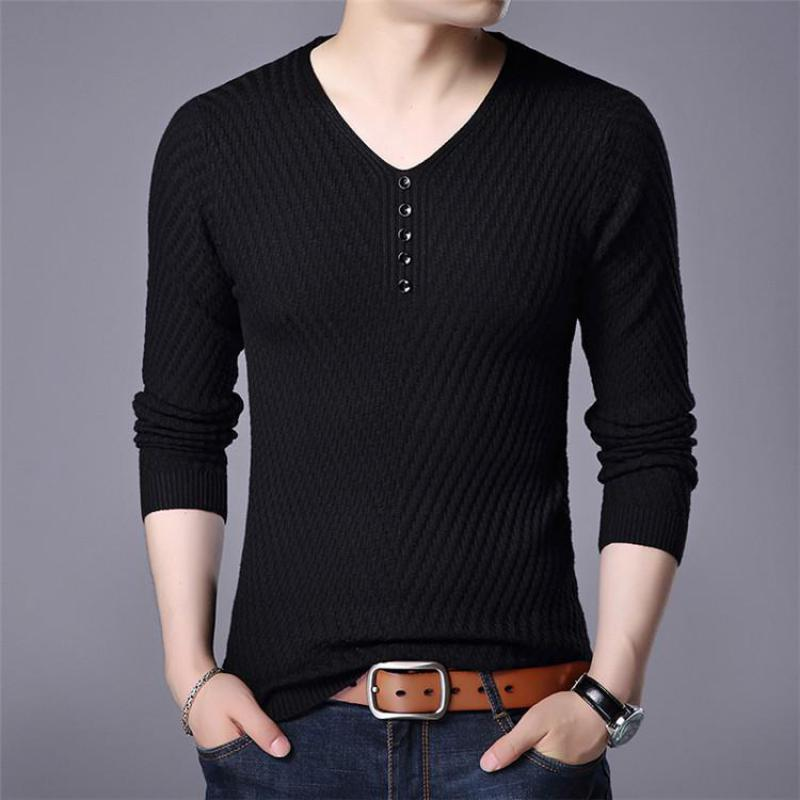 Men's Fashion Solid Color Long Sleeve Casual V-neck Top Plus Size Sweater Men Sweater