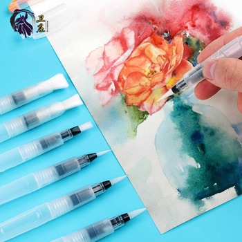 6Pcs Refillable Paint Brush Water Color Brush Soft Watercolor Brush Ink Pen For Painting Calligraphy Drawing Art Supplies oriental plant series color dye ink pen water watercolor grass