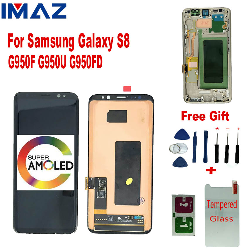 IMAZ Original SUPER AMOLED LCD For <font><b>Samsung</b></font> <font><b>S8</b></font> G950F <font><b>G950FD</b></font> G950W Galaxy LCD <font><b>Display</b></font> Touch Screen Digitizer Assembly For G950 LCD image