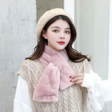 Women Winter Thicken Plush Faux Rabbit Fur Scarf Solid Candy Color Collar Shawl Neck Warmer Shrugs Knitted Neckerchief Long Wrap(China)