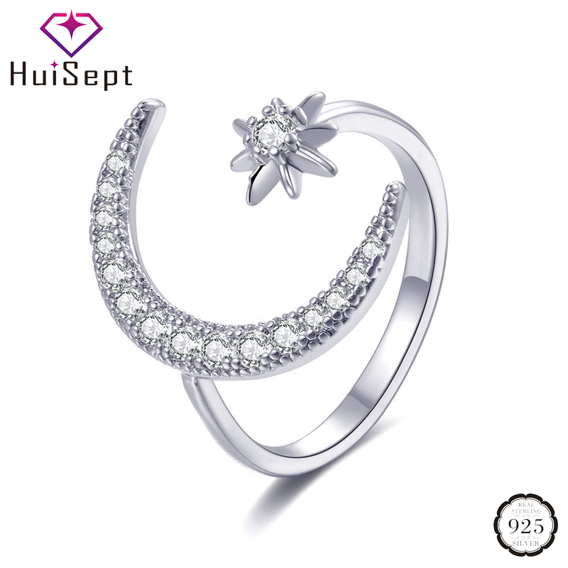 HuiSept Trendy Silver 925 Jewelry Rings for Women Star Moon Shaped Zircon Gemstones Open Ring Wedding Party Wholesale Rose Gold