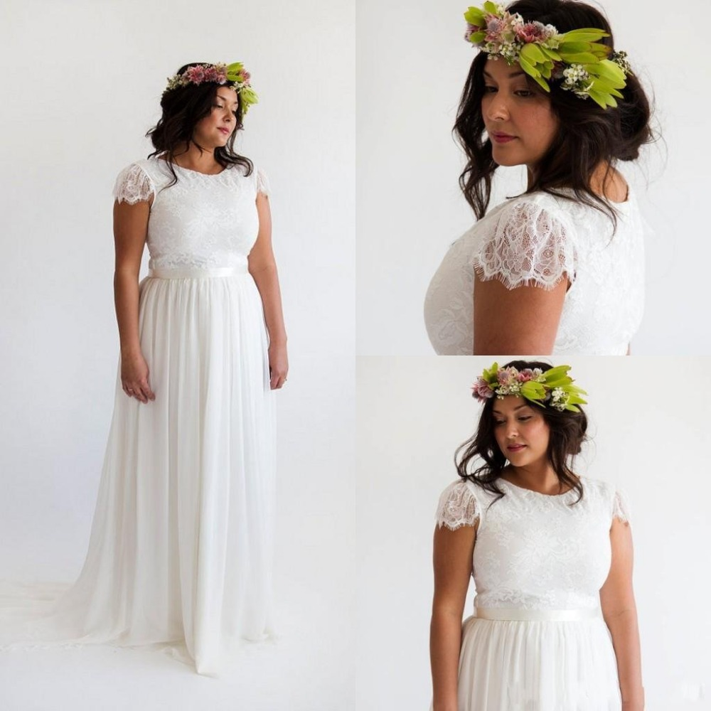 Bohemian Beach Plus Size Wedding Dress With Sleeves 2015 Vintage Lace Bridal Gowns Chiffon Boho Wedding Dress Vestidosde Novia